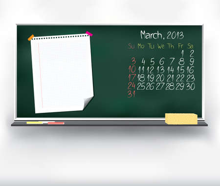 Scribble calendar on the blackboard  March 2013