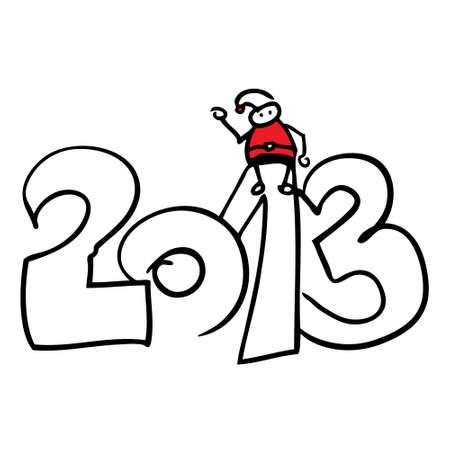 Santa Claus sitting Year 2013 doodle