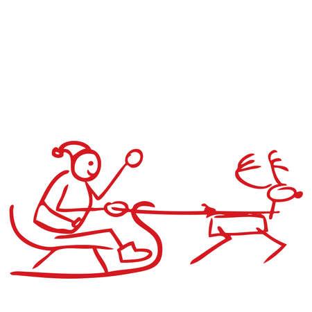 santa sleigh: Silhouette of Santa sleigh doodle