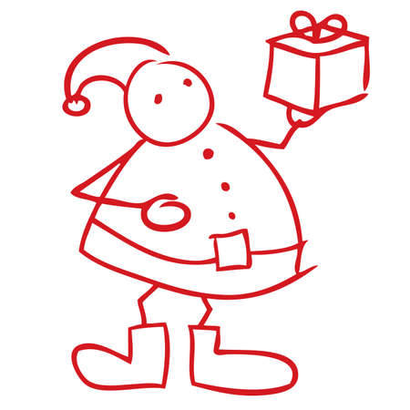 Santa Claus holding gift box doodle