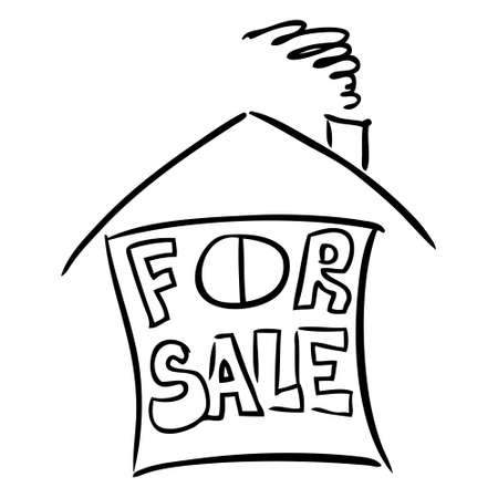 house for sale: House for sale doodle  Illustration