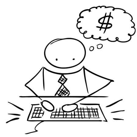 serious business: Man get money on internet doodle illustration
