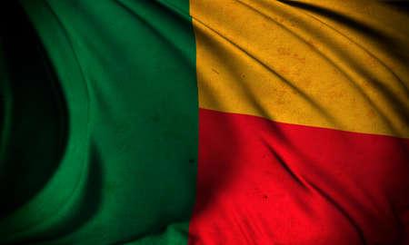 Grunge flag of Benin