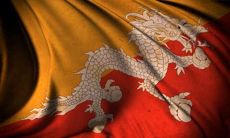 bhutan: Grunge flag of Bhutan Stock Photo