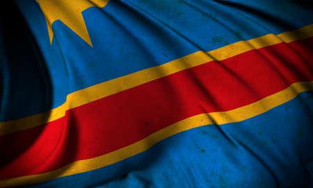 Grunge flag of Congo Democratic Republic Stock Photo
