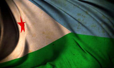 djibouti: Grunge flag of Djibouti