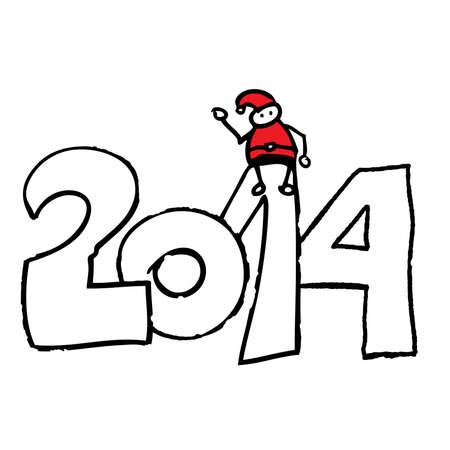 Santa doodle sitting on a number 2014