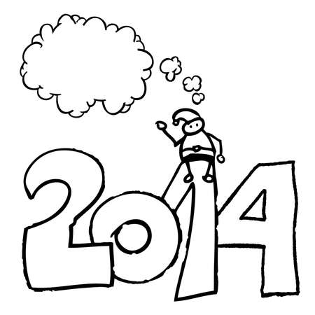 Santa Claus Speech bubble Year 2014