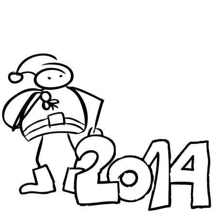 Drawing of a Santa Claus holding gift bag year 2014 Illustration