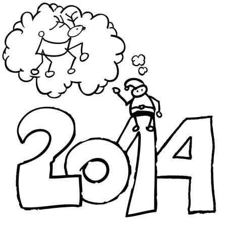 Santa Claus Year 2014 deer on speech bubble Illustration