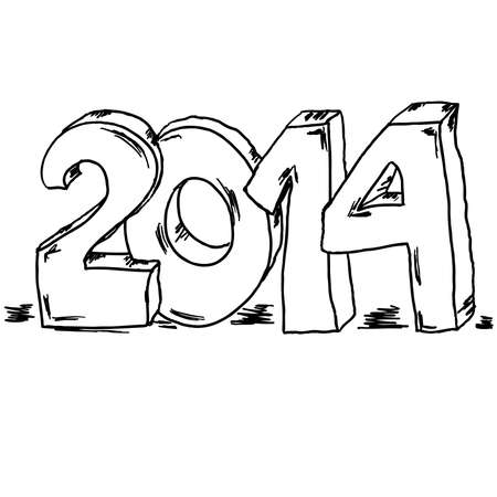 Number 2014 New year Illustration