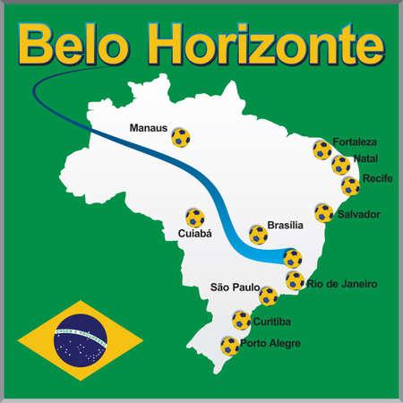 Belo Horizonte - Brazil map soccer ball Illustration