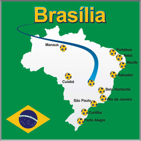 brasilia: Brasilia - Brazil map soccer ball Illustration