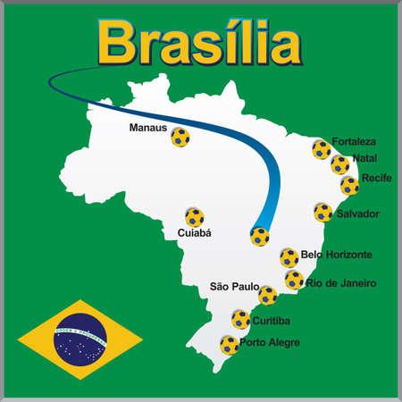 Brasilia - Brazil map soccer ball Illustration