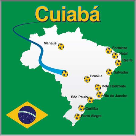 Cuiaba - Brazil map soccer ball