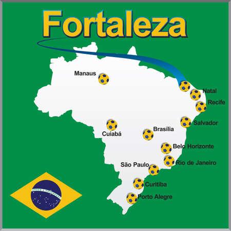 Fortaleza - Brazil map soccer ball
