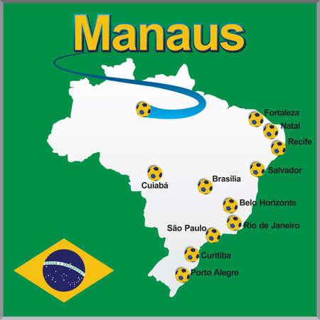 Manaus - Brazil map soccer ball Illustration