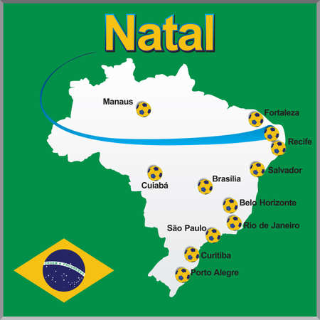natal: Natal - Brazil map soccer ball