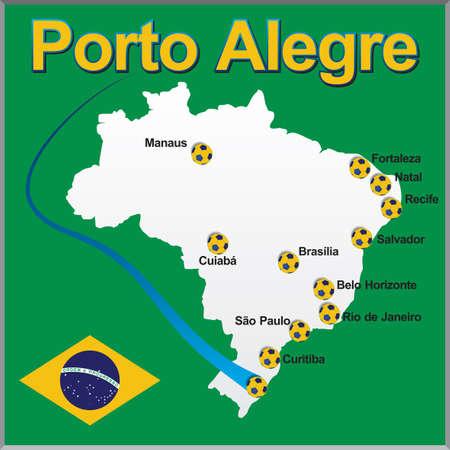 Porto Alegre - Brazil map soccer ball 矢量图像