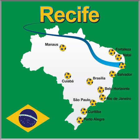 Recife - Brazil map soccer ball