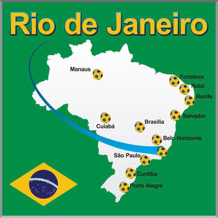 Rio de Janeiro - Brazil map soccer ball