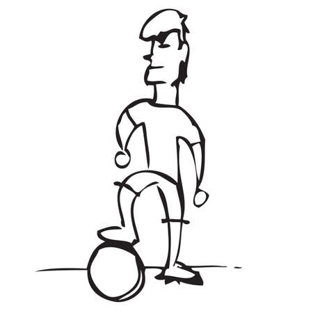 Soccer Player Doodle Vector