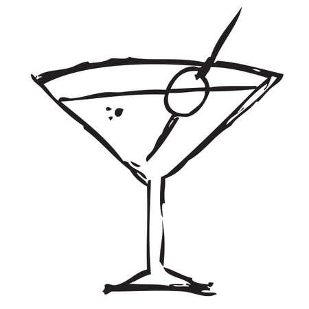 Martini Drink Doodle Illustration