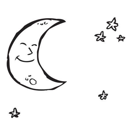 noche y luna: Luna y Estrellas Doodle