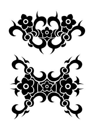 Flowers tribal tattoo set Stock Vector - 17702574