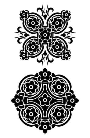 Flowers tribal tattoo set Vector