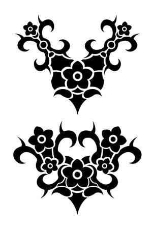 Flowers tribal tattoo set