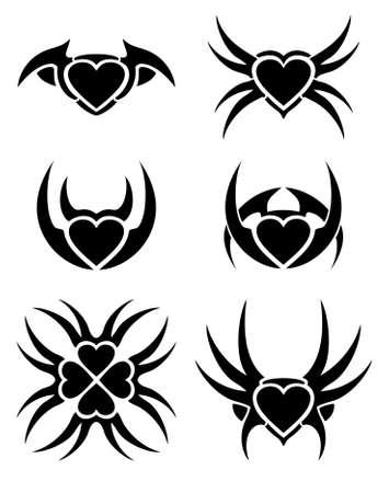 gothic heart: Hearts tribal tattoo set Illustration