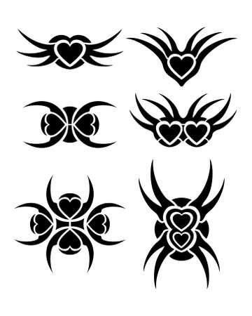 Hearts tribal tattoo set Stock Vector - 17702572