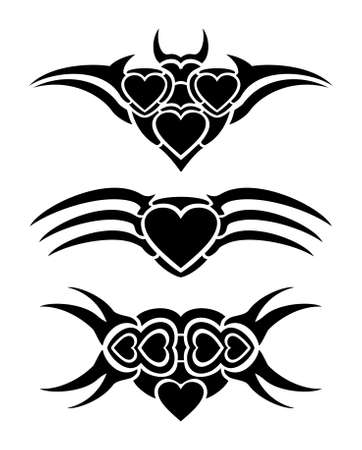 Hearts tribal tattoo set Stock Vector - 17702570