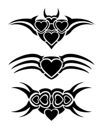 Hearts tribal tattoo set Illustration