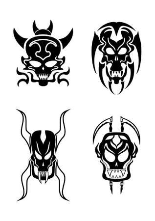 Skull tribal tattoo set Stock Vector - 17702584