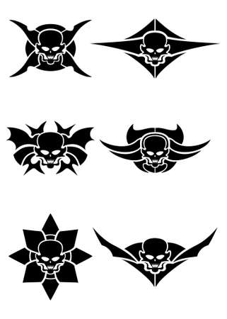 devil's bones: Skull tribal tattoo set