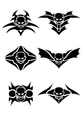 style: Skull tribal tattoo set