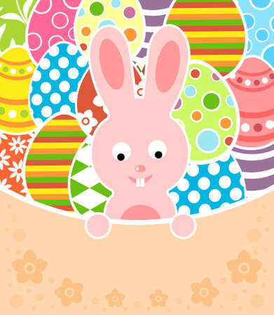 Easter background card with eggs and rabbit