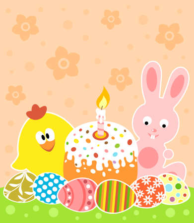 Easter background card with bunny and chicken