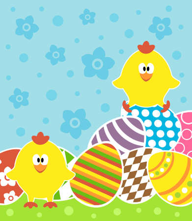Easter background card with chickens and eggs Stock Vector - 18677856