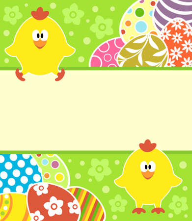 Easter background card with eggs and funny chickens Illustration