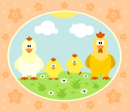 Farm background with funny chicken Vector