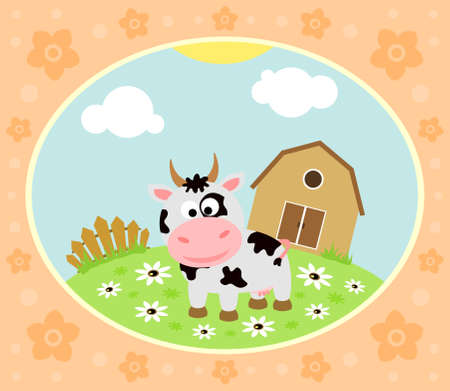 Farm background with funny cow Vector