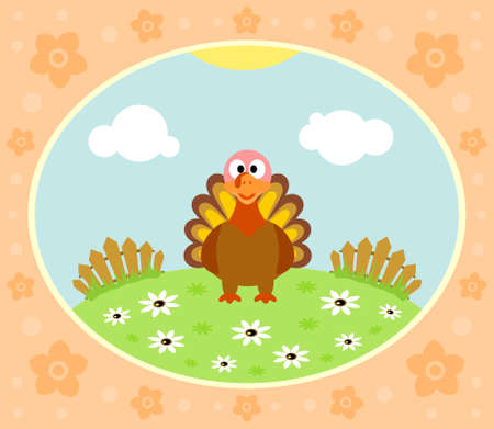 Farm background with funny turkey Vector