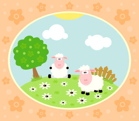 Farm background with funny sheep Vector
