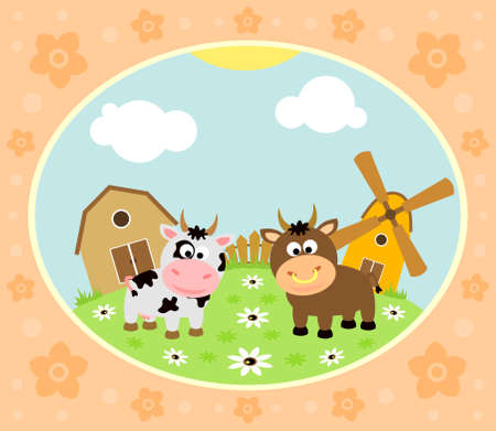 Farm background with funny cow and bull
