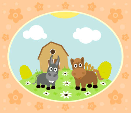Farm background with funny horse and donkey Illustration