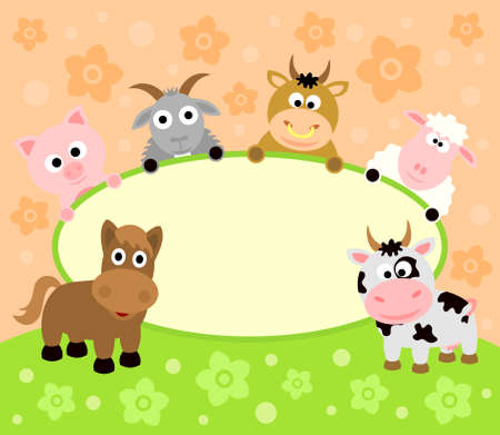farm animal cartoon: Background card with funny animals Illustration