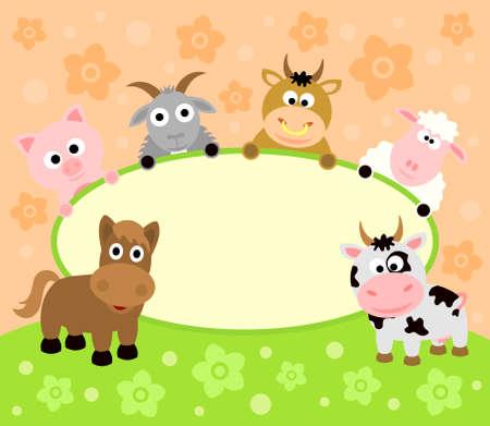 zwierzę: Tło karty z zabawnymi zwierząt
